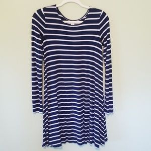 Old Navy navy and white striped swing dress